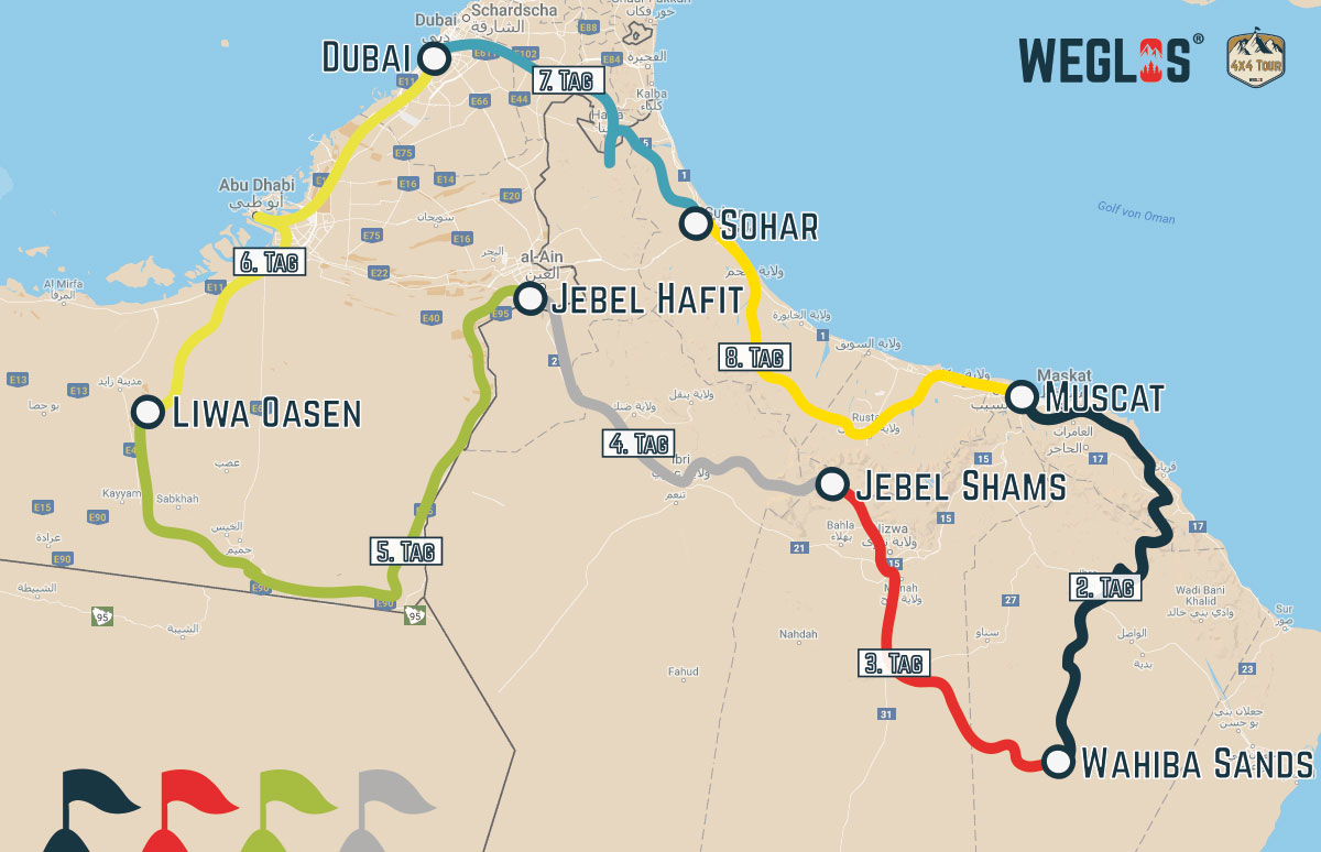 WEGLOS | Kartenausschnitt Oman – TTT – Train the Trainer Sandfahrtraining ADVANCED III